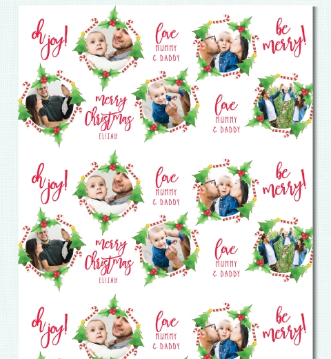 Candy Cane & Mistletoe Wreath by Tori Benz Wrapping Paper