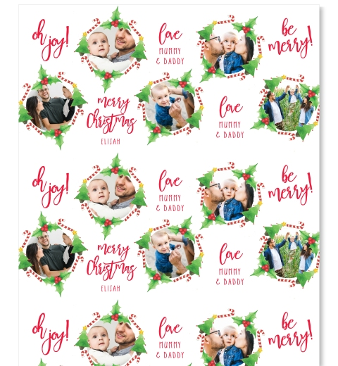 Candy Cane & Holly Wreath Wrapping Paper