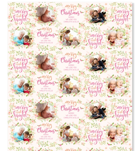 Pastel Christmas Floral Wrapping Paper