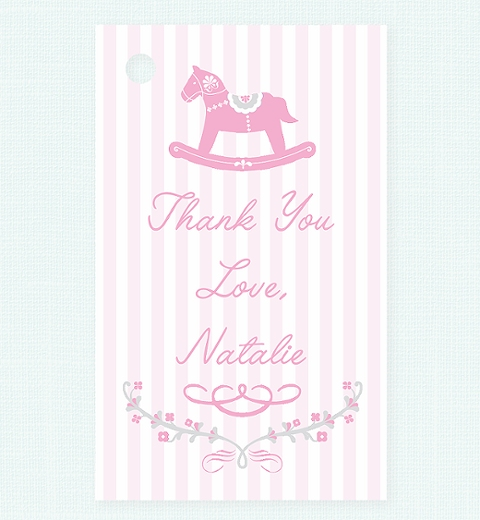 Rocking Horse Pink Thank-you Tag