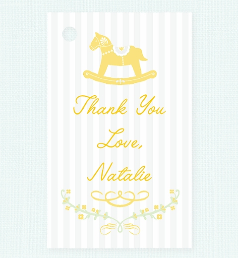 Rocking Horse Yellow Thank-you Tag
