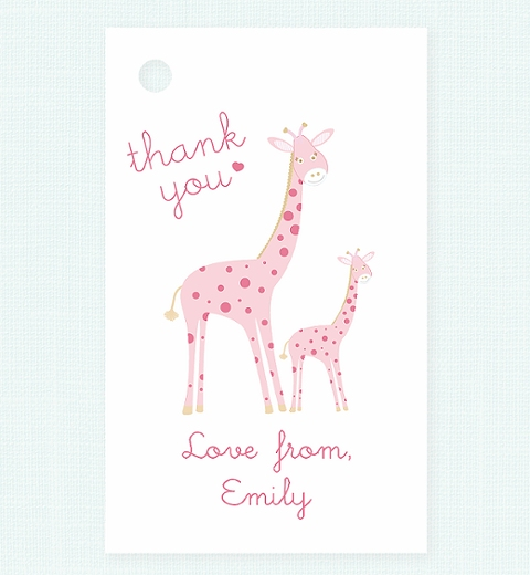 Mama & Bubba Giraffe in Pink Thank-you Tag