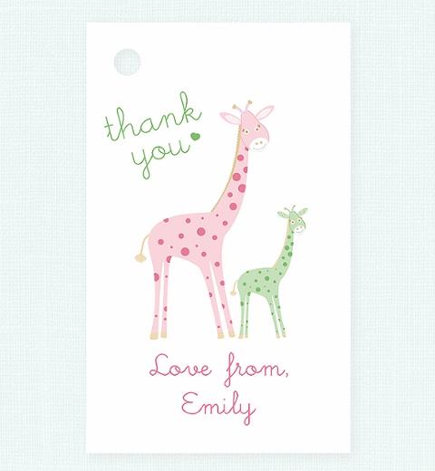 Mama & Bubba Giraffe in Mint Thank-you Tag