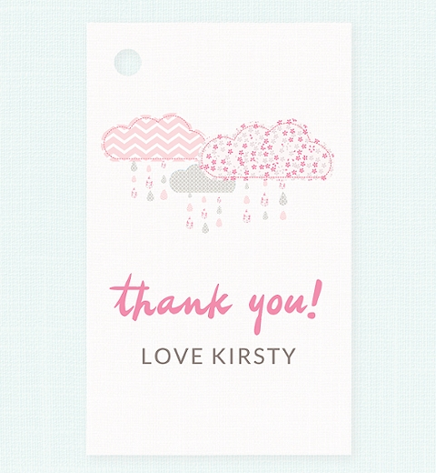 It's Raining Baby Shower in Pink Thank-you Tag