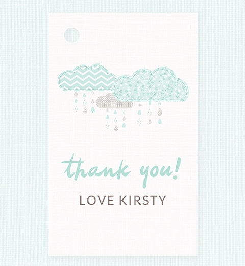 It's Raining Baby Shower in Mint Thank-you Tag