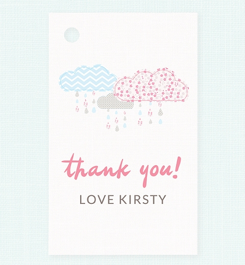 It's Raining Baby Shower in Baby Pink & Blue Thank-you Tag