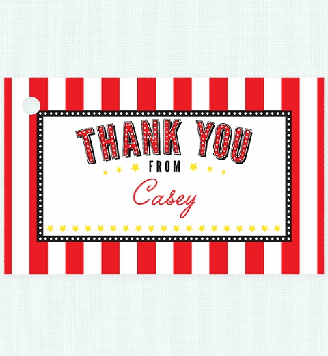 Classic Movie Party Thank-you Tag