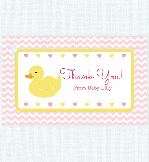 Pink Rubber Ducky Party  Thank-you Tag