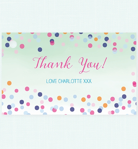 Colourful Confetti Baby Shower  Thank-you Tag