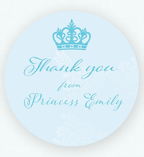 Snowflake Thank You Sticker Inspired by Frozen