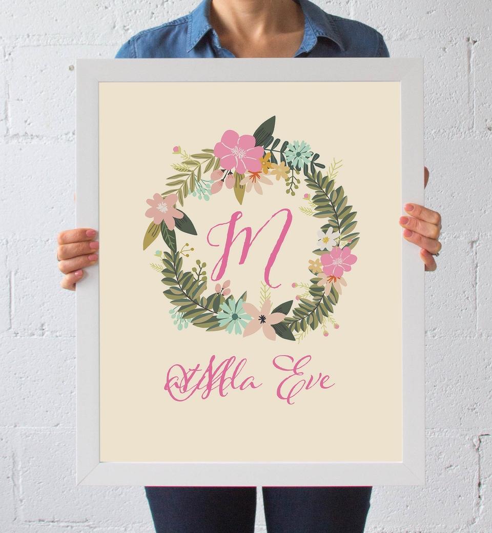 Floral Wreath Name Print Spring Flowers Love Jk
