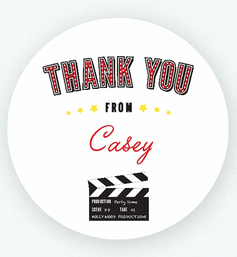 Classic Movie Party Thank-you Sticker