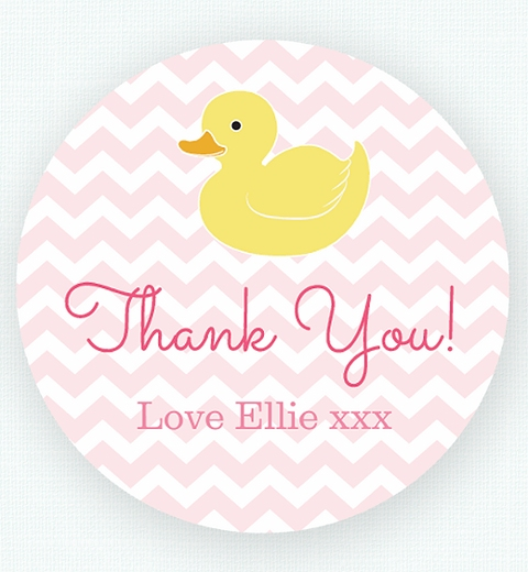 Pink Rubber Ducky Party  Thank-you Sticker