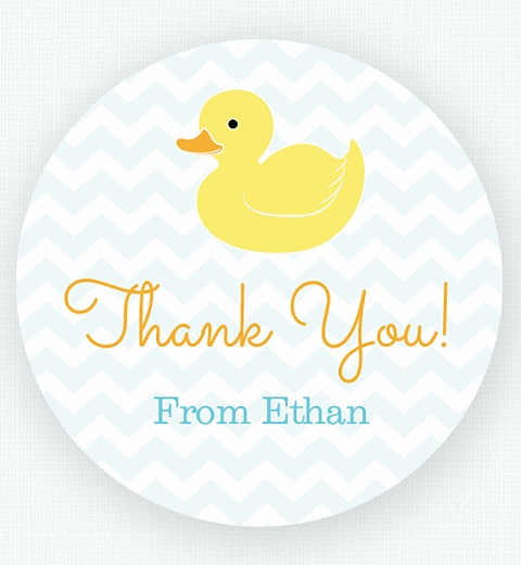 Blue Rubber Ducky Party  Thank-you Sticker