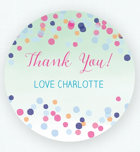 Colourful Confetti Baby Shower  Thank-you Sticker