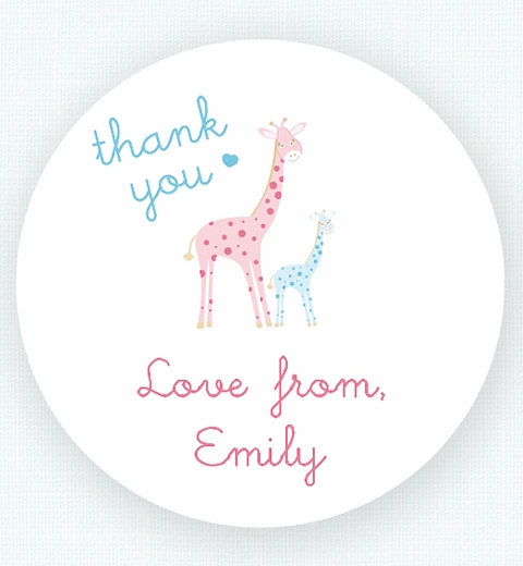 Mama & Bubba Giraffe in Blue Thank-you Sticker