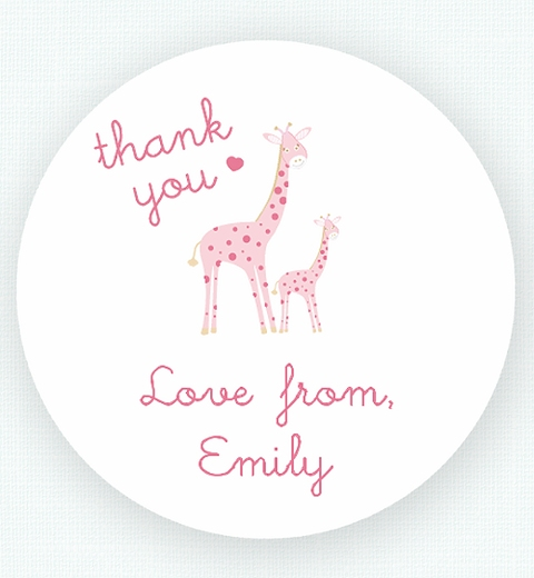 Mama & Bubba Giraffe in Pink Thank-you Sticker