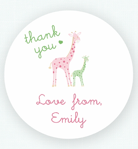 Mama & Bubba Giraffe in Mint Thank-you Sticker