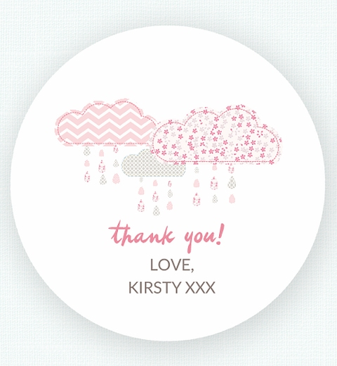 It's Raining Baby Shower in Pink Thank-you Sticker