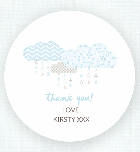 It's Raining Baby Shower in Blue Thank-you Sticker