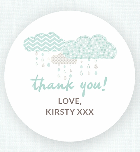 It's Raining Baby Shower in Mint Thank-you Sticker