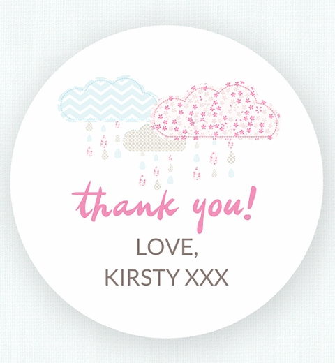 It's Raining Baby Shower in Baby Pink & Blue Thank-you Sticker