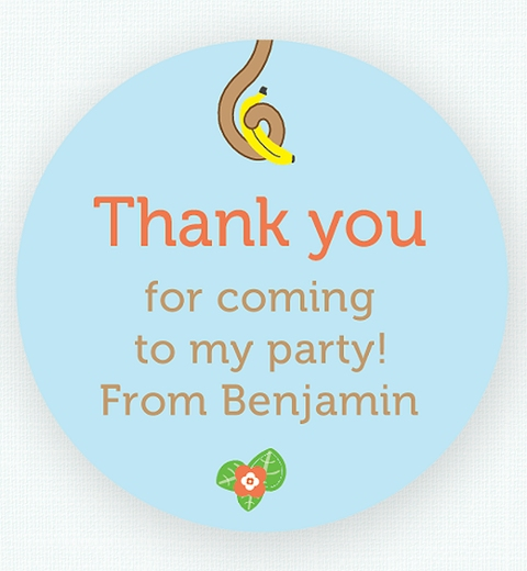Cheeky Monkey Party Thank-you Sticker