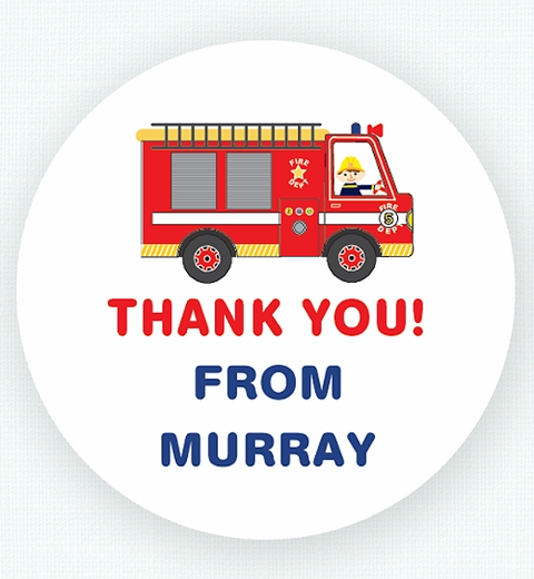 Fire Engine Thank-you Sticker