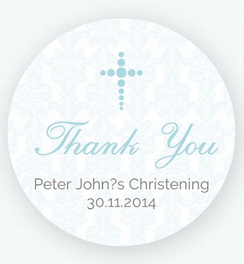 Baby Blue Damask Thank-you Sticker