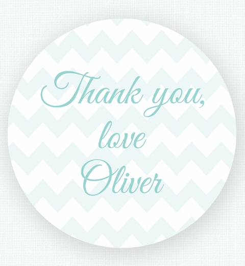 Blue Chevron Birthday Thank-you Sticker