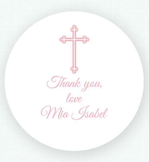 Pink Chevron Christening Thank-you Sticker