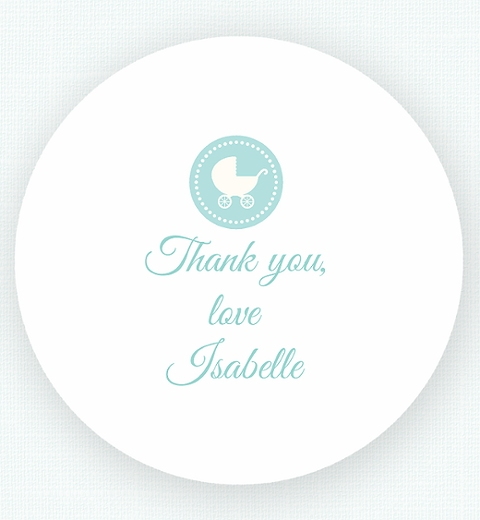 Blue Chevron Baby Shower Thank-You Sticker
