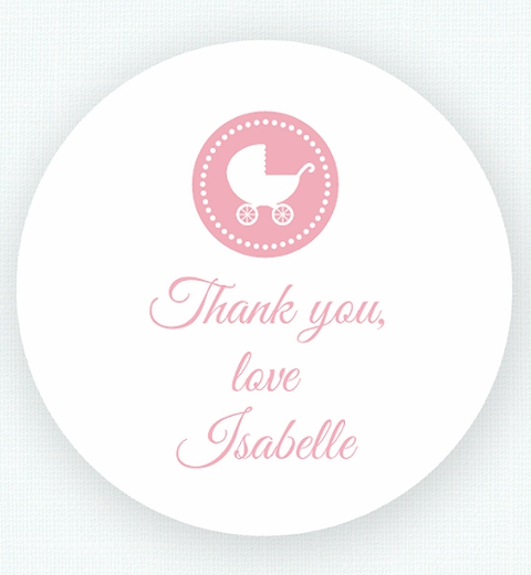 Pink Chevron Baby Shower Thank-You Sticker