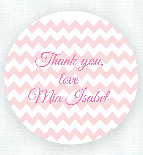 Pink Chevron Birthday Thank-You Sticker