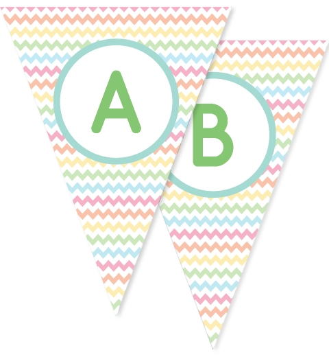 Pastel Rainbow Chevron Bunting Flags