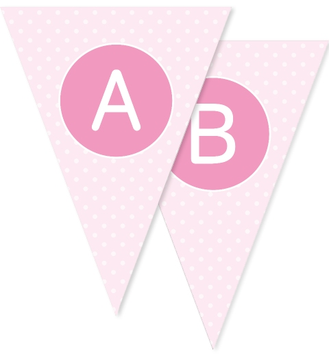 Pale Pink Polka Dot Bunting Flags