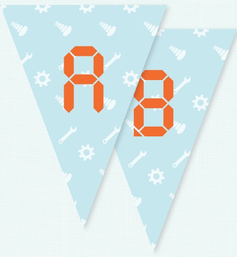 Robot Bunting Flags