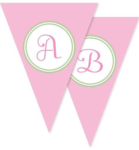 Pink & Mint Decorative Bunting Flags