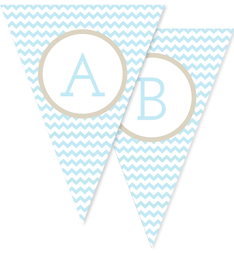 Baby Blue Chevron Bunting Flags