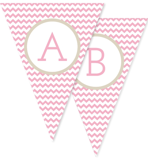 Baby Pink & Taupe Chevron Bunting Flags