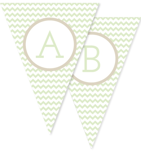 Mint Green Chevron Bunting Flags
