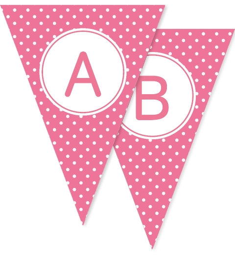 Rose Pink Polka Dot Bunting Flags