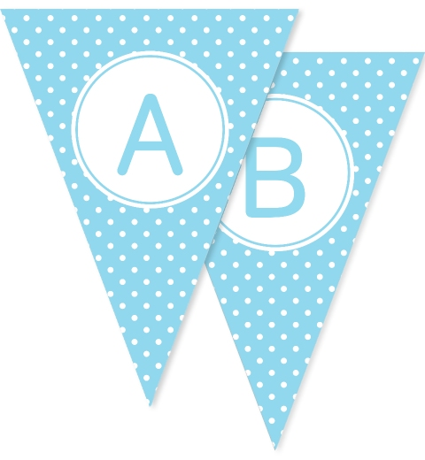 Blue Polka Dot Bunting Flags