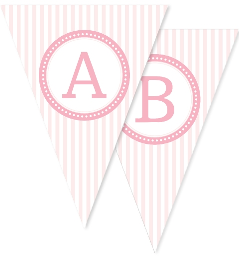Baby Pink & White Stripe Bunting Flags