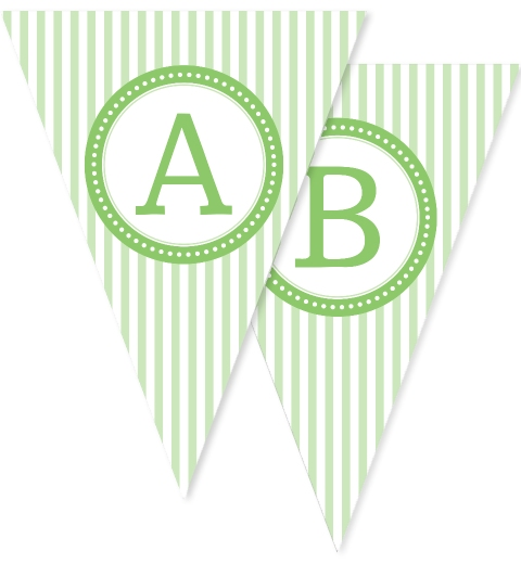 Mint Green Stripe Bunting Flags
