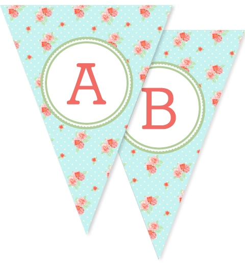 Blue China Floral Bunting Flags