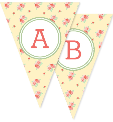 Lemon Floral Bunting Flags