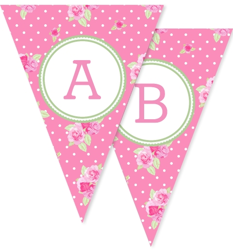 Rosy Pink Floral Bunting Flags