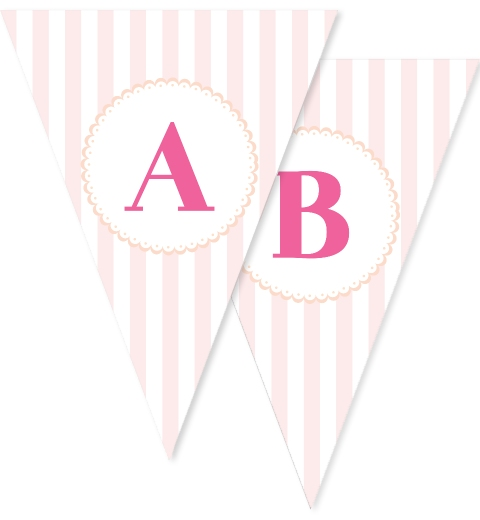 Pink Stripe & Peach Bunting Flags
