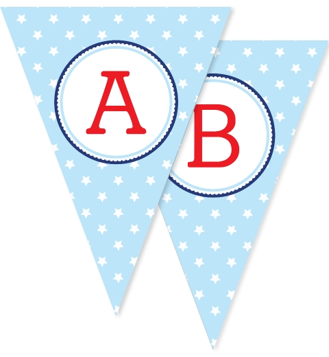 Baby Blue Star Bunting Flags
